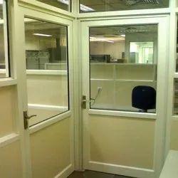 White Hinged Office Aluminum Door