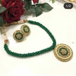 Brass Green And Golden Kundan Artificial Necklace, Box