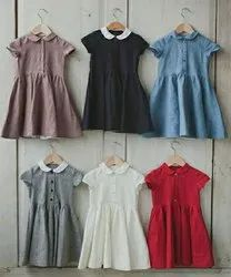 Linen Regular Wear Girls A Line Frocks
