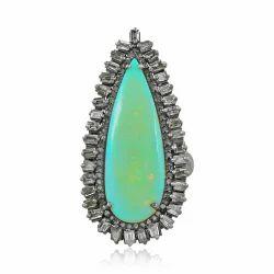 Ethiopian Opal Pave Diamond Baguette Silver Ring