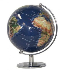 Metallic Stand Chrome Finish Blue Ocean World Globe