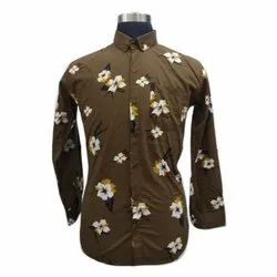 Party Wear Mens Full Sleeve Printed Cotton Shirt, Size: M-XXL