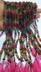 Multi Tourmaline Gemstone Faceted Drop Beads Strands