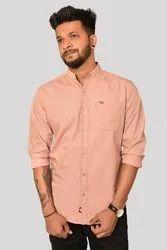 S-XL Cotton Light Pink Plain Shirt