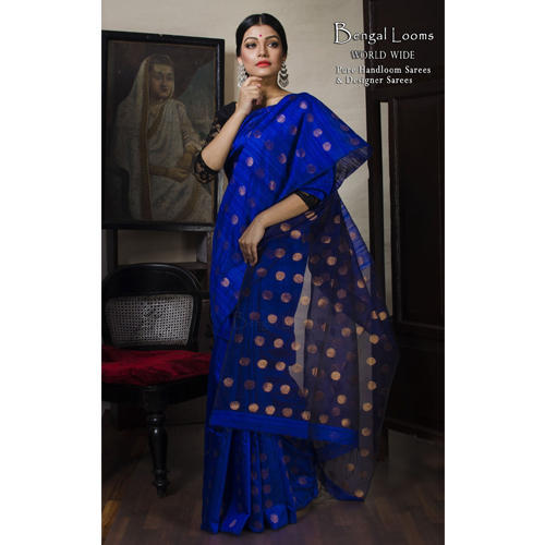 5ff99f0e89 Khadi Matka Silk Saree in Royal Blue and Antique Gold at Rs 7800 ...