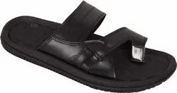 Synthetic Leather Daily Wear Bata Men Black Flats Chappal, Size: 6 To 10