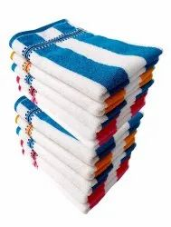 Cotton White Cabana Striped Hand Towels High Absrobent, Set of 12 (Exactly-13 X 18 inch )