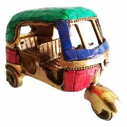 Designer Brass Auto Rickshaw with Gem Stone Showpiece