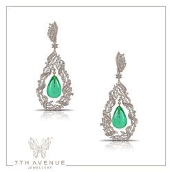 7thAvenueJewellery Rhodium Finish Emerald Drop Earring