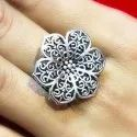 Oxidized Floral Design Rings