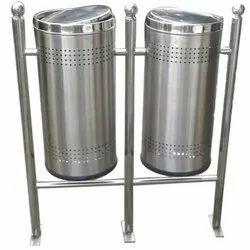Double Bucket Standing Stainless Steel Dustbin