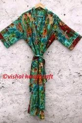 Women's Frida Kahlo Long Cotton Kimono Bath Robe Gown  Jacket Dress