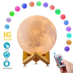 3D Moon Lamp, Remote & Touch Control Hanging Moon Light, 16 Colors LED Light With USB Charging LZ839
