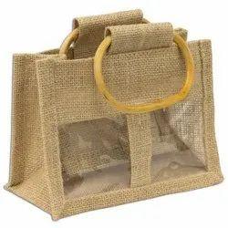Rope Handle Jute Jar Bag