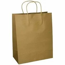 Kraft Paper Plain Shopping Carry Bags, Size: 12 x 18 x 4 Inch