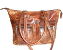 Leather Tote Bag with Two Front Pocket