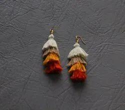 Utsav creation Red orange white Tassel Silk Earnings