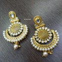 Alloy Multicolor Pearl Earring With Kundan
