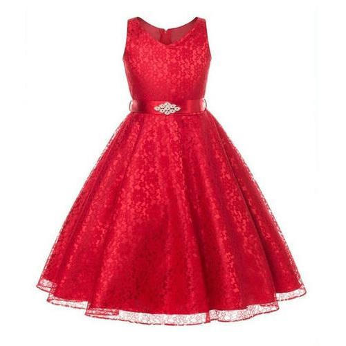 Girls Red Kids Party Wear Dress, Rs 1050