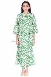 Long Ikat Print Kimono Robe