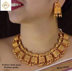 Matte Finish Brass Jewellery Set - 100200100