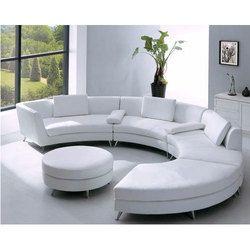 White Round Sofa Set
