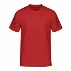 Red Cotton Round Neck Bio Wash Half Sleeves T Shirt