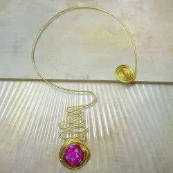 Gold Plated New Fashion Valentine's Day Present Women Statement Druzy Necklace