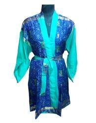 Printed Silk Sari Bathrobe