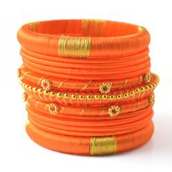 Indian Handcraft Latest Orange Colourful Silk Thread Bangles