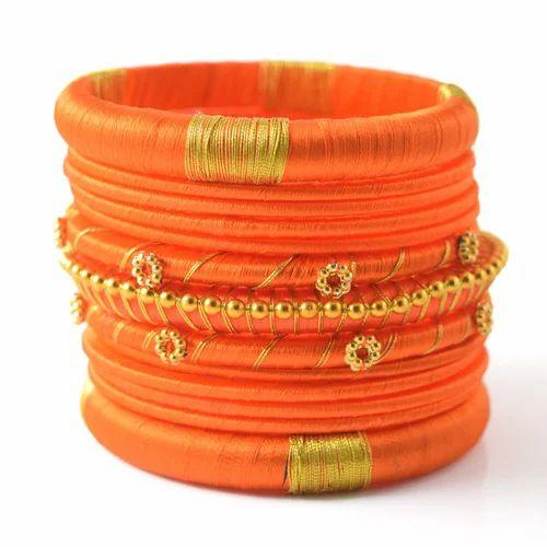 Indian Handcraft Latest Orange Colourful Silk Thread Bangles