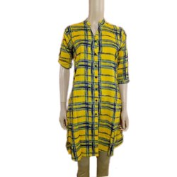 3/4th Sleeve Yellow Regular Wear Kurti, Machine wash