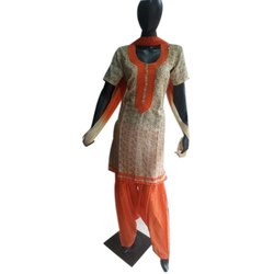 Cotton Stitched Ladies Designer Suits, Machine wash