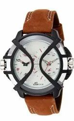 Analog Casual Wear Fastrack Leather Dual Time Watch Brown, Model Name/Number: 38016PL02