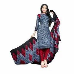 Rajnandini Charcoal Cotton Printed Unstitched Dress Material