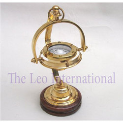 Brass Nautical Compass with stand wooden base
