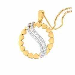 Round Shape Design Diamond Gold Pendent