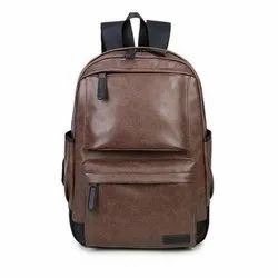 Brown Leather Laptop Backpack, Number Of Compartments: 3