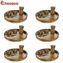 Choozee - Copper Thali Set of 6 (30 Pcs) Plate, Bowl, Spoon & Matka Glass