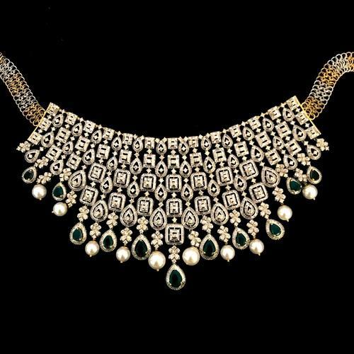 9carats 33 55 Heavy Bridal Diamond Necklace With Earrings Rs