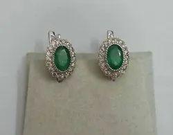 Lab Diamond 925 Silver Gemstone Oval Shape Emerald  Earrings for Woman