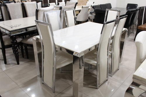 Kenya Furniture White Designer Dining Table Set