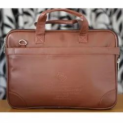 Brown Plain Leather Promotional Briefcase