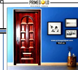 Brown zink alloy wood finish high security Steel Door PGS 2 ( with door frame), Thickness: 70 Mm, Material Grade: Ms