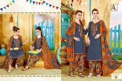 Casual Wear Blue Printed Punjabi Suits