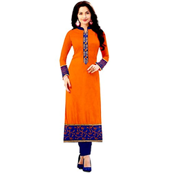 Orange Straight Cotton Ladies Long Kurta, Size: Large