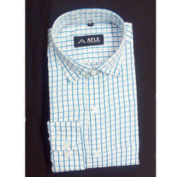 AFLE White and Blue Mens Trendy Check Shirt