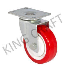 Zinc Plate Type Castor With Red PU Wheel