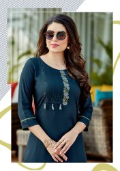 Straight 3/4th Sleeve Mittoo Panghat V-11 Attractive Modern Rayon Kurti