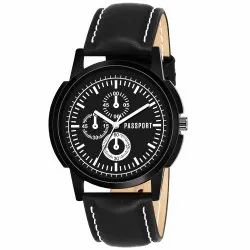 Black Gents Leather Watch